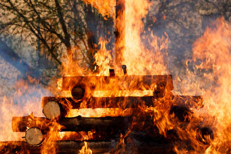 religion christian festival Walpurgis Night with big fire and burning witches, burning woodpile Stock Photo