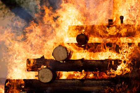religion christian festival Walpurgis Night with big fire and burning witches, burning woodpile Stock Photo