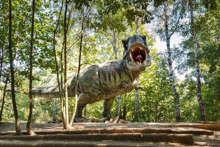 model of dangerous prehistoric dinosaurs Tyrannosaurus Rex, T-rex in wildlife 写真素材