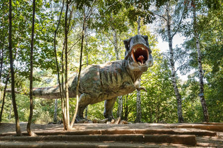 model of dangerous prehistoric dinosaurs Tyrannosaurus Rex, T-rex in wildlife Stock Photo