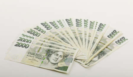 fan from czech banknotes nominal value two thousand crowns, money business banking concept 写真素材