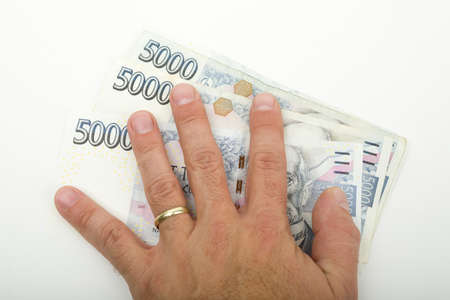 czech thousand banknotes in hand, money business banking concept
