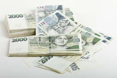 czech banknotes nominal value two and five thousand crowns. approximately 12 450 US dollars (USD) or 11 100 Euro (EUR)