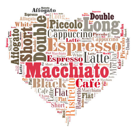 Index of coffee drinks words cloud collage, poster background, love coffee concept on heart shape
