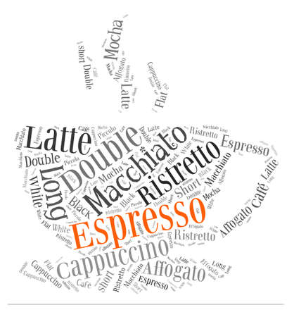 Index of coffee drinks words cloud collage, poster background, coffee concept on beautiful cup shape