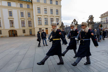 PRAGUE, CZECH REPUBLIC - DECEMBER 9, 2017: Castle Guard changing of guards in Prague's castle. December 9, 2017 Prague, Czech Republic.