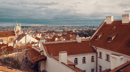 Prague city view from prague hill, december 2018