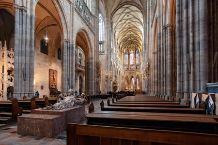Interior of Prague's Gothic jewel, St. Vitus Cathedral at Prague. Most important cathedral in Czech Republic