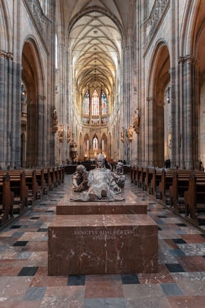 Interior of Prague's Gothic jewel, St. Vitus Cathedral at Prague . Most important cathedral in Czech Republic