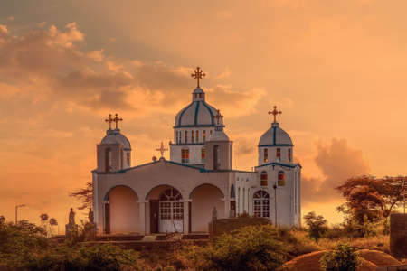 Beautiful architecture of Orthodox Christian Church in sunset, Oromia Region Ethiopia, Africa