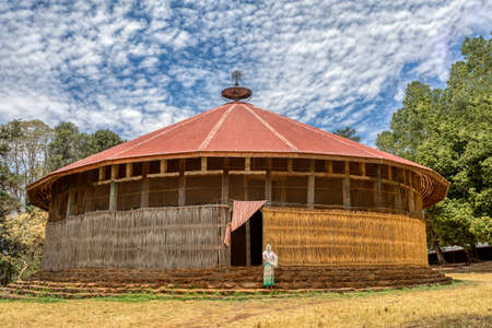 Zege Peninsula in Lake Tana. UNESCO Ura Kidane Mehret Church, monastery from 14th century by the saint Betre Mariyam, decorated with painted frescoes 스톡 콘텐츠