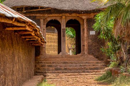 Zege Peninsula in Lake Tana. Entry to UNESCO Ura Kidane Mehret Church, monastery from 14th century decorated with numerous painted frescoes of Menelik II