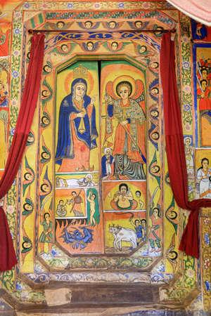 Painted frescoes in UNESCO Ura Kidane Mehret Church, monastery from 14th century by the saint Betre Mariyam in lake Tana, Bahir Dar, Ethiopia