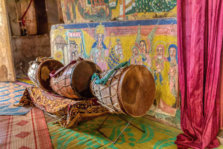 Ceremonial drum covered with cow skin. Zege Peninsula in Lake Tana. UNESCO Ura Kidane Mehret Church, monastery from 14th century.