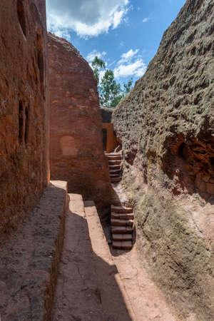 Debre Sina-Mikael an underground Orthodox monolith rock-cut church located in Lalibela, Ethiopia. 写真素材