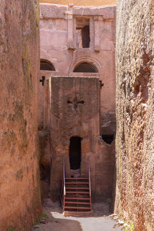 Tomb of Adam entrance gate to the north western complex of rock hewn churches in Lalibela. Ethiopia Фото со стока