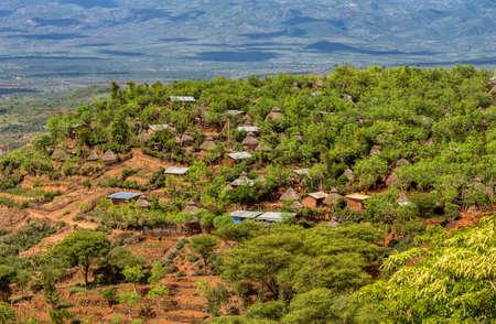 panorama landscape of Konso tribe village in Karat Konso, Ethiopia. Ethiopia, Africa UNESCO world heritage.