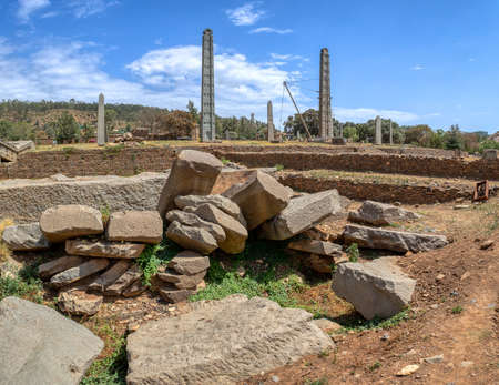 Ancient monolith stone obelisk, symbol of the Aksumite civilization in city Aksum, Ethiopia. UNESCO World Heritage site. African culture and history place. Cradle of life.