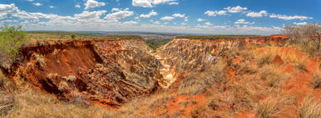 Lavaka of Ankarokaroka erosion canyon in Ankarafantsika National Park, moonscape lanscape in Madagascar, Africa wilderness nature landscape