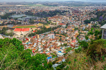 Antananarivo cityscape, Tana, capital of Madagascar, french name Tananarive and short name Tana, Poor capital and largest city in Madagascar
