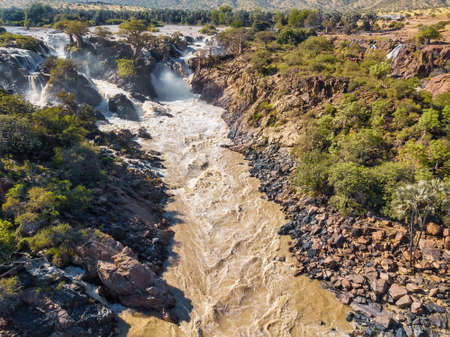 aerial landscape Epupa Falls, Kunene River in Northern Namibia and Southern Angola border. Beautiful landscape, Africa wilderness 版權商用圖片