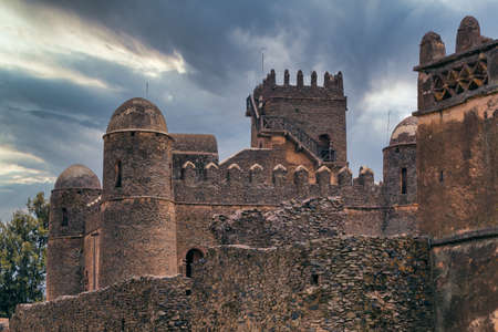 Fasil Ghebbi, Royal fortress-city within Gondar, Ethiopia. Founded by Emperor Fasilides. Imperial palace castle complex is called Camelot of Africa.