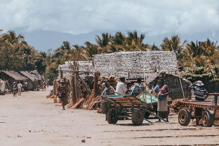 MADAGASCAR OCTOBER 18.2016: Malagasy people on marketplace street. Daily life in Madagascar. October 18. 2016, Madagascar, Toamasina Province