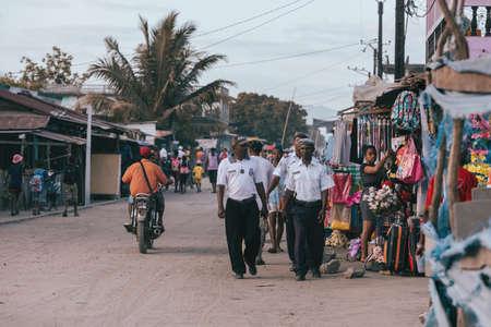 MADAGASCAR OCTOBER 18.2016 Madagascar police on street control on the main street of Maroantsetra. October 18. 2016, Madagascar, Toamasina Province