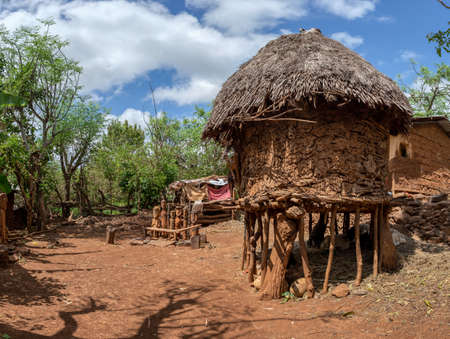 Fantastic walled village tribes Konso. African village. Africa, Ethiopia.