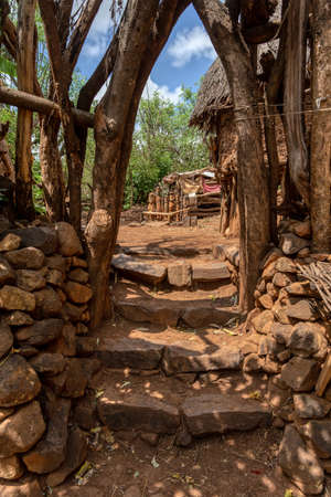 Simple stone stairs to house in walled village tribes Konso. African village. Africa, Ethiopia.