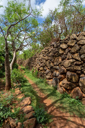 Narrow pathway in Konso, walled village tribes Konso. Africa, Ethiopia.