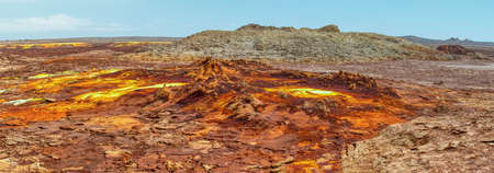 Colorful incredible abstract apocalyptic landscape like moonscape of Dallol Lake in Crater of Dallol Volcano, Danakil Depression, Ethiopia