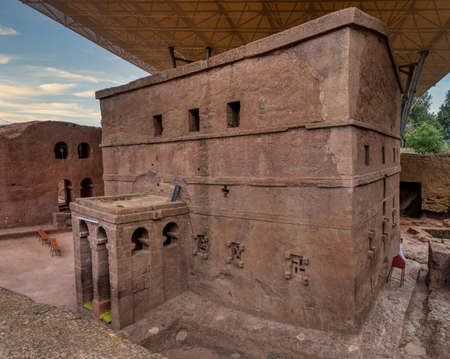 Biete Meskel - English name House of the Cross, Orthodox underground monolith church carved into rock.   Lalibela Ethiopia, Africa