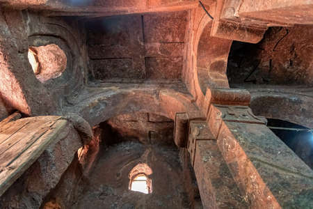 Interior ceiling of church with the symbolic Tomb of Adam in the north western complex of rock hewn churches in Lalibela. Ethiopia