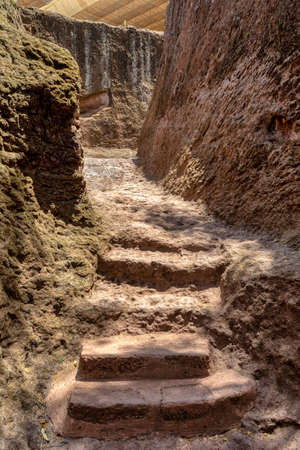 exterior labyrinths with stairs between LaLibela churches in Ethiopia carved out of the bedrock.  Lalibela Ethiopia, Africa