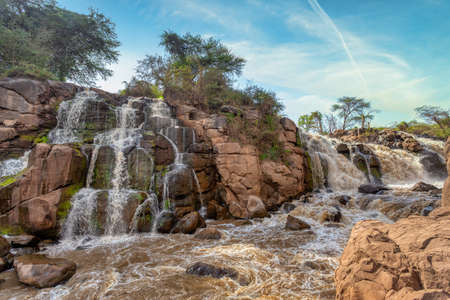 small waterfall in Awash National Park. Waterfalls in Awash wildlife reserve in south of Ethiopia. Wilderness scene, Africa