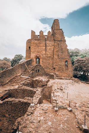 ruins of Fasil Ghebbi, Royal fortress-city castle in Gondar, Ethiopia. Imperial palace is called Camelot of Africa. Imagens