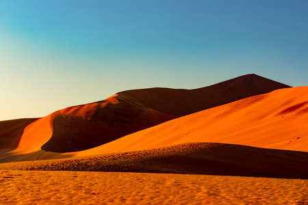 arid dead sunrise landscape, hidden Dead Vlei in Namib desert, dune with morning sun, Namibia, Africa wilderness landscape