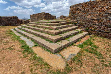 Dungur (or Dungur 'Addi Kilte) is the ruins of a substantial mansion in Aksum, Ethiopia - Ruins of the palace of the Queen Sheba, Aksum civilization at Axum city in Ethiopia.