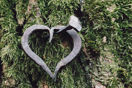 forged heart and nail, love valentine grunge concept,