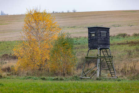 Wooden Hunters hunting tower in countryside landscape, Fall autumn season, Czech Republic, Highland, European Scenery Banco de Imagens