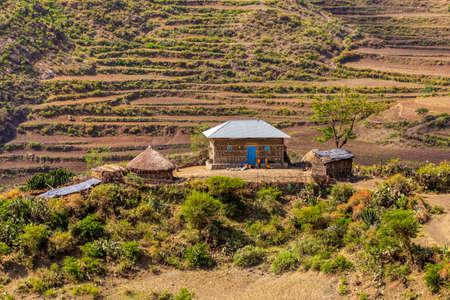 Beautiful highland landscape in Tigray region on the road to near city Mekele.