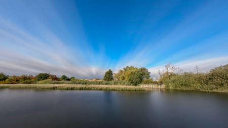 Long Exposure Autumn Colors Reflected Pond. Czech republic nature landscape, Europe
