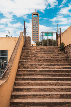 stairs to museum of Christianity in Church of Our Lady St. Mary of Zion, the most sacred place for all Orthodox Ethiopians in Axum, Ethiopia.
