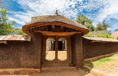 Entry to Ura Kidane Mehret Church, monastery from 14th century. Zeghe Peninsula in Lake Tana. near bahir Dar, Ethiopia