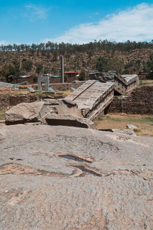 Aksumite civilization ruins, Ancient monolith stone obelisks behind Church of Our Lady of Zion, symbol of the Aksum, Ethiopia.