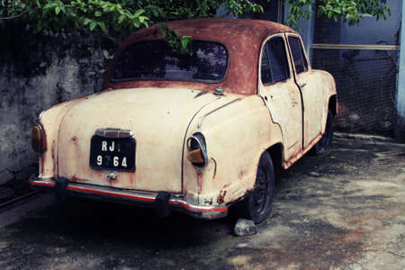 abandoned car: Rusty Old Car in India