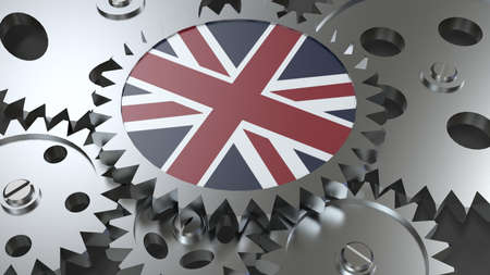 Great Britain flag with steel manufacturing gears world country economy cooperation 3d render image