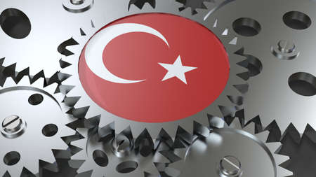 Republic of Turkey flag with steel manufacturing gears world country economy cooperation 3d render image