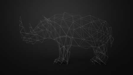 Low poly triangle white line counture rhinoceros animal isoleted on black background 3d rendering image Stock Photo